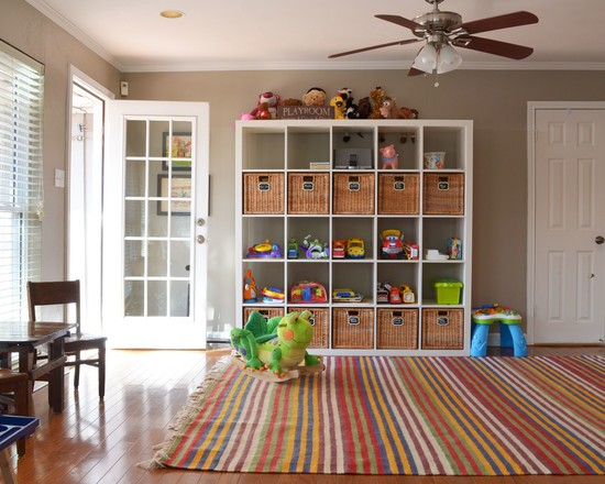 Appealing-Play-Room-in-Assorted-Color-Carpet-Great-Lego-Storage-Cube-and-Rattan-Basket-Nice-for-Your-Play-Room-Plans
